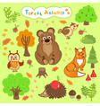 children is drawings of cute forest animals vector image