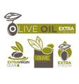 olive oil extra virgin flat logotypes set on white vector image
