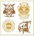 Set of viking emblems labels and logos vector image