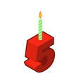 5 number and candles for birthday five figure for vector image