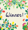 Background for the winner certificate with floral vector image vector image