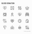 blood donation mutual aid thin line icons set vector image vector image