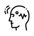 brain telepathic control thin line icon vector image vector image