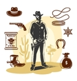 Brown Sheriff Icon Set vector image vector image