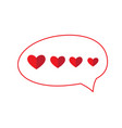 bubble chat with hearts vector image