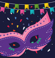 carnival mask accessory with garlands hanging vector image