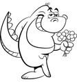 cartoon dinosaur holding flowers vector image vector image