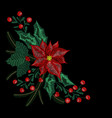christmas embroidery patch wreath with mistletoe vector image vector image