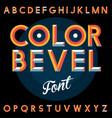 color bevel vintage font poster vector image