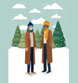 couple of men in snowscape with winter clothes vector image vector image
