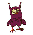crazy owl doodle vector image vector image