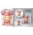 cute teddy bull poster and merchandising vector image vector image