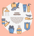 eczema treatment round concept banner in line vector image vector image