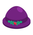 elf bowler hat with holly berry isolated on white vector image vector image