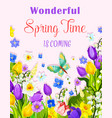 flowers design of spring time greeting card vector image vector image