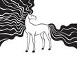 horse long mane vector image