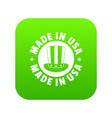 made in usa top hat icon green vector image
