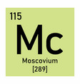 moscovium chemical symbol vector image vector image