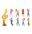 music award and people singing singers contest vector image vector image