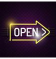 open neon arrow sign purple background imag vector image