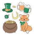 patrick symbols saint day cartoon vector image