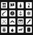 pirate icons set squares vector image vector image