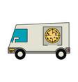 pizza delivery van vector image vector image