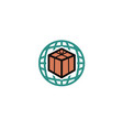 planet box symbol logo vector image