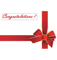 red ribbon with the words Congratulations vector image vector image