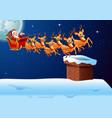 santa rides reindeer sleigh flying in the sky vector image vector image