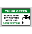 Save water sign vector image vector image