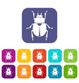 scarab icons set flat vector image vector image