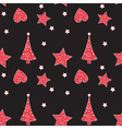Seamless pattern with Christmas tree heart star vector image vector image