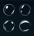 set of 4 white bubbles on dark background vector image