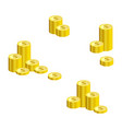set of stacks of gold dollar coins isolated on vector image