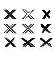 set x handwritten letter on white vector image vector image