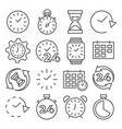 time and clock line icons on white background vector image