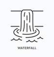 waterfall flat line icon outline vector image vector image