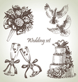 Wedding set hand drawn vector image