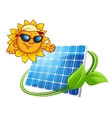 Sun energy concept with cartoon sun character vector image