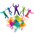 Background with jumping and dancing people vector image vector image