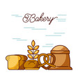 bakery sack of flour bread wheat pretzel vector image