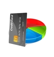 Bank credit card with pie chart vector image