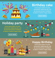birthday party banner horizontal set flat style vector image vector image