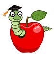 bookworm in apple vector image vector image