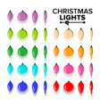 christmas bulbs set flat colored light vector image vector image