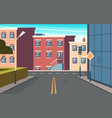 city street cartoon urban structure buildings vector image vector image