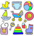 collection of element baby doodles vector image