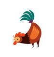 colorful rooster crowing farm cock side view vector image vector image