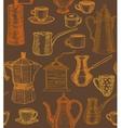 dark coffee background with utensils vector image vector image